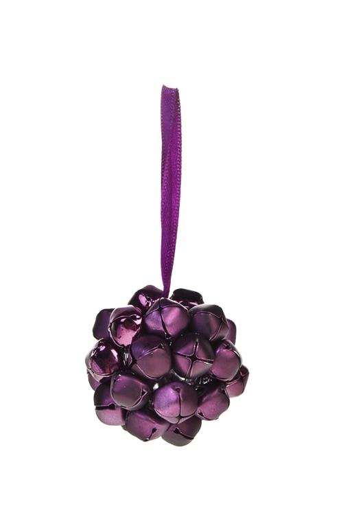 Украшение новогоднее Шар из бубенцовДекоративные гирлянды и подвески<br>Д=5см, металл, темно-фиолет., подвесное<br>
