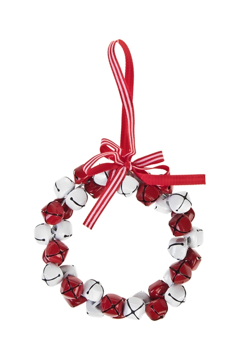 Украшение новогоднее Веночек из бубенцовСувениры и упаковка<br>Выс=10см, металл, бело-красное, подвесное<br>