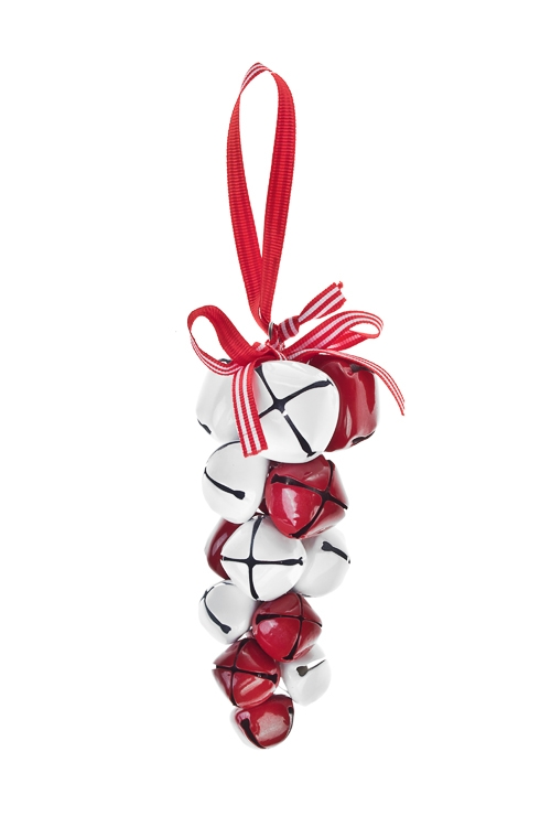 Украшение новогоднее БубенцыСувениры и упаковка<br>Выс=12см, металл, бело-красное, подвесное<br>