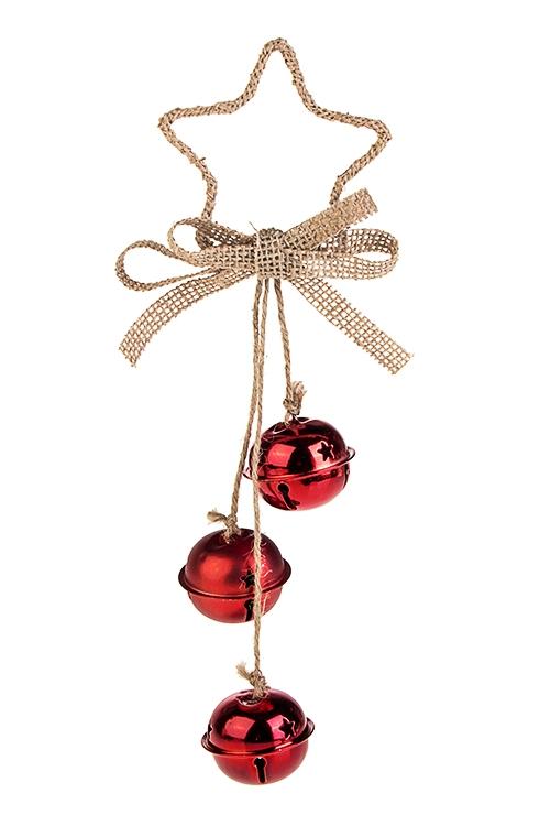 Украшение новогоднее Звезда с бубенцамиПодарки на Новый год 2018<br>Выс=25см, металл, красное, подвесное<br>