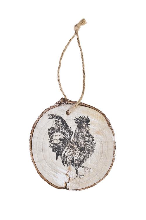 Украшение декоративное Счастливый петушокСимволы года 2017<br>Д=10см, дерево, подвесное<br>