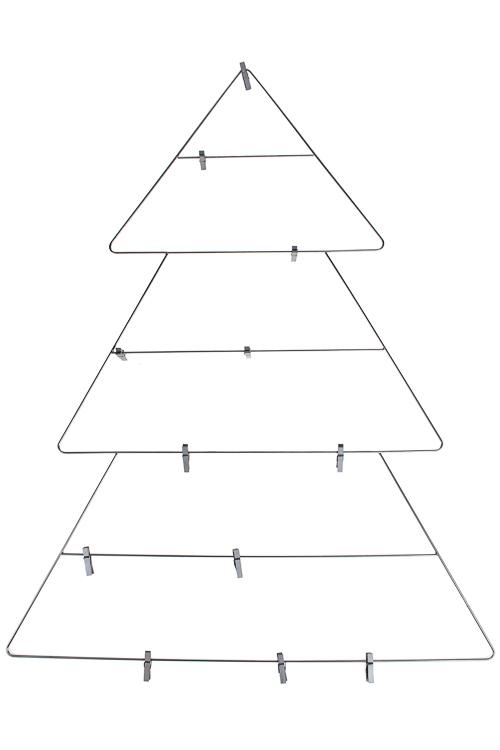 Украшение новогоднее настенное Елочка60*75см, металл, серебр., с прищепками для игрушек<br>
