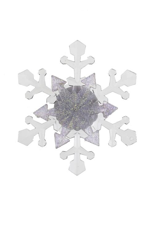 Украшение новогоднее светящееся СнежинкаЛедяные фигуры<br>Д=10см, акрил, на присоске (3 вида), на батар.<br>