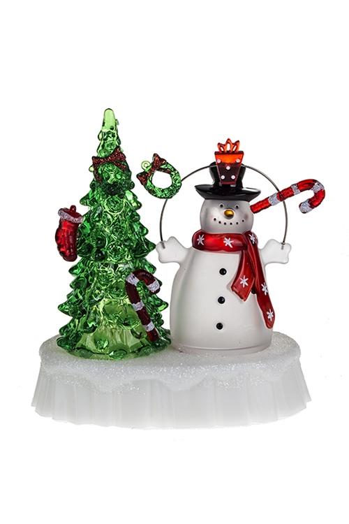 Украшение новогоднее светящееся Елка и снеговикФигурки на Новый Год<br>14*8*15см, акрил, на батар.<br>