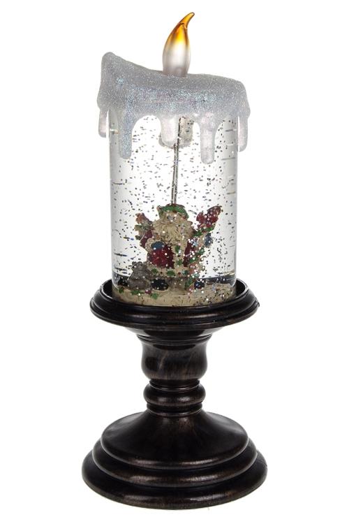 Украшение новогоднее светящееся Свеча и Дед МорозНовогодние Свечи и Подсвечники<br>Выс=26см, акрил, на батар., с жидкостью<br>