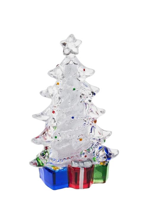 Украшение новогоднее светящееся Елочка с подаркамиНовогодние сувениры<br>Выс=15см, акрил, на батар.<br>