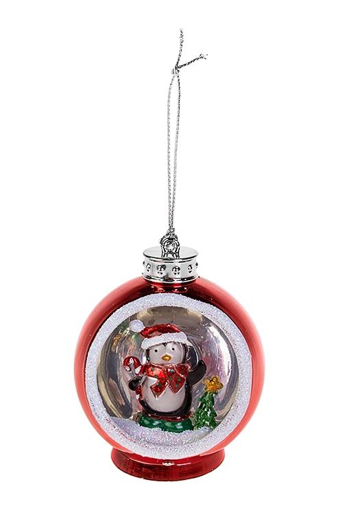 Украшение новогоднее светящееся Пингвин с елочкойРазвлечения и вечеринки<br>6.5*6*8см, пластм., на батар.<br>