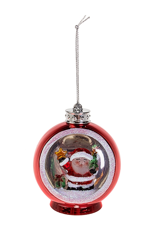Украшение новогоднее светящееся Дед Мороз с елочкой и подаркомСветящиеся украшения<br>6.5*6*8см ,пластм., на батар.<br>