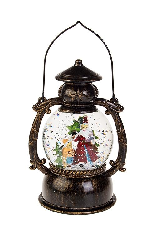 Украшение новогоднее светящееся Дед Мороз с елочкойСветящиеся украшения<br>Выс=21, пластм., полирез. на батар., с жидк., метелью<br>