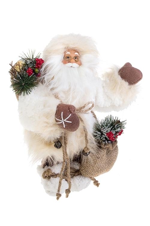 Украшение новогоднее Дед Мороз с подаркамиИгрушки и куклы<br>Выс=31см, текстиль, пластм., бело-крем.-коричн.<br>
