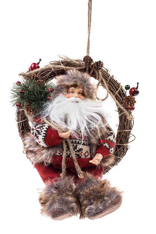 Украшение новогоднее Дед Мороз на венке с подаркамиКуклы<br>Выс=38см, текстиль, пластм, дерево, крас.-серо-кор.<br>