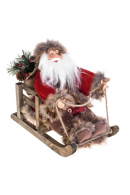 Украшение новогоднее Дед Мороз на санкахИгрушки и куклы<br>26*15*23см, текстиль, пластм., дерево, серо-красно-коричн.<br>