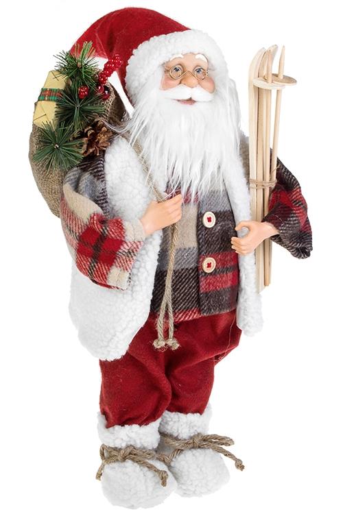 Украшение новогоднее Дед Мороз с подарками и лыжамиКуклы<br>Выс=47см, текстиль, пластм., дерево, крас.-бело-кор<br>