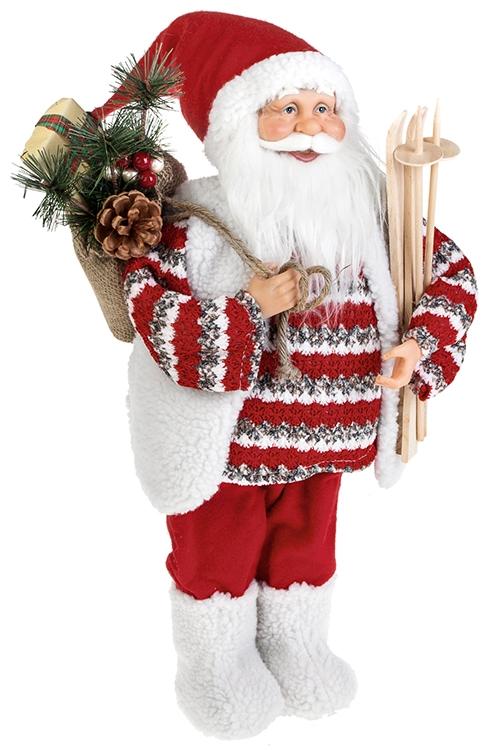 Украшение новогоднее Дед Мороз с подарками и лыжамиИгрушки и куклы<br>Выс=47см, текстиль, пластм., дерево, бело-красн.<br>