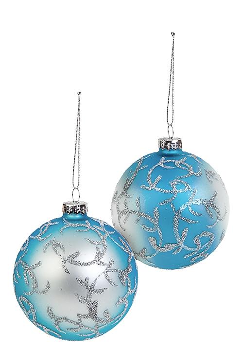 Набор шаров елочных ИнейЕлочные шары<br>2-предм., Д=8см, стекло, серебр.-голубой, ручная работа<br>