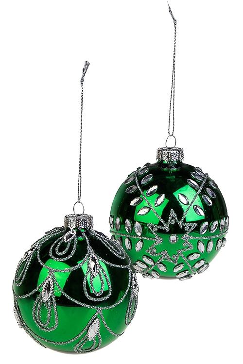 Набор шаров елочных ИзумрудПодарки на Новый год 2018<br>2-предм., Д=8см, стекло, зелено-серебр., ручная работа<br>