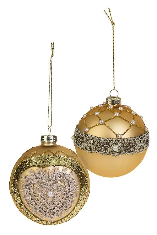 Набор шаров елочных КружевоПодарки на Новый год 2018<br>2-предм., Д=8см, стекло, крем.-золот., ручная работа<br>