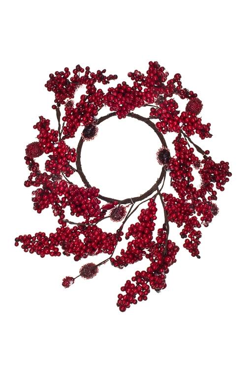 Украшение для интерьера Венок - Заснеженные ягодыПодарки<br>Д=23см, пенопласт, красное, подвесное<br>