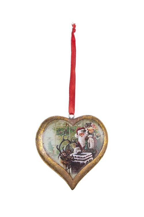 Украшение новогоднее Сердце - Новогодняя сказкаПодарки<br>Выс=8см, полирезин, золот., подвесное<br>