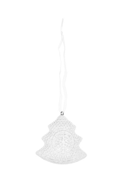 Украшение новогоднее ЕлочкаСувениры и упаковка<br>Выс=5см, полирезин, белое, подвесное<br>