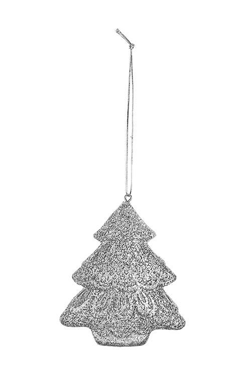 Украшение новогоднее ЕлочкаСувениры и упаковка<br>Выс=8.5см, полирезин, серебр., подвесное<br>