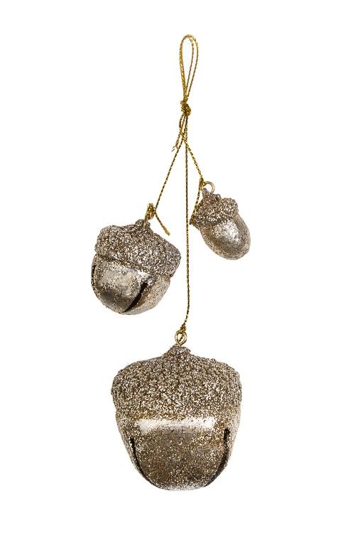 Украшение новогоднее ЖелудиСувениры и упаковка<br>Выс=11см, полирезин, металл, золот., подвесное<br>