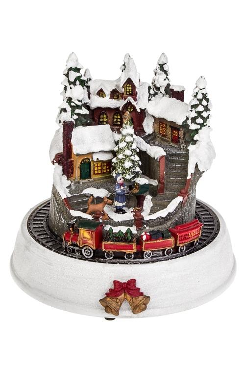 Украшение для интерьера светящееся и двигающееся Зимний городРождественские украшения<br>19*18см, полирезин, пластм., на батар.<br>