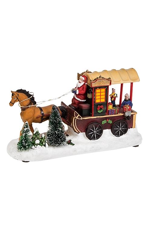 Украшение новогоднее светящееся и двигающееся Повозка Деда МорозаРождественские украшения<br>27*9*15см, полирезин, на батар.<br>