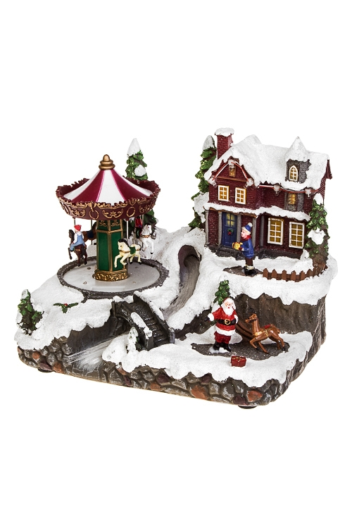 Украшение новогоднее светящееся и двигающееся У Деда Мороза в гостяхПодарки на Новый год 2018<br>22*18*17см, полирезин, на батар.<br>
