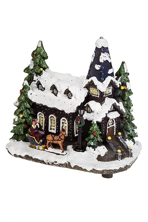 Украшение новогоднее светящееся Праздничный домПодарки маме<br>25*18*26см, полирезин<br>