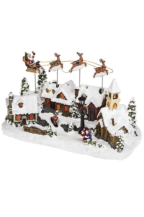 Украшение новогоднее светящееся и двигающееся Дед Мороз над городомРождественские украшения<br>34*15*22см, полирезин<br>