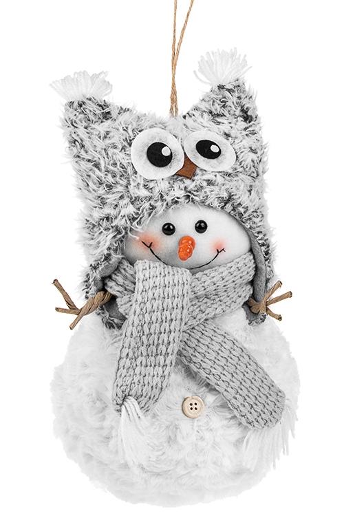 Украшение новогоднее СнеговикПлюшевые игрушки<br>Выс=30см, текстиль, бело-серое, подвесное<br>