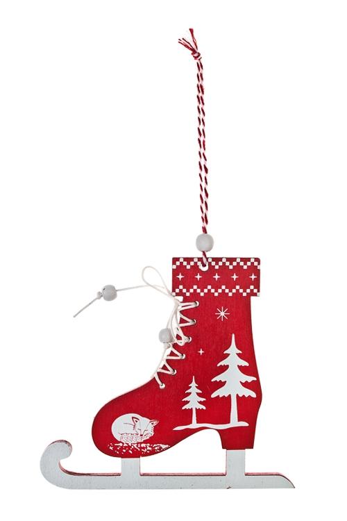 Украшение новогоднее КонькиЕлочные игрушки<br>13*12см, дерево, красно-белое, подвесное (2 вида)<br>