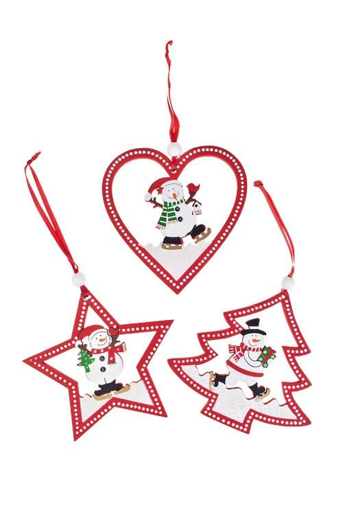 Набор украшений новогоднее Время поздравленийЕлочные игрушки<br>Д=10см, дерево, красный, подвесной (2 вида)<br>