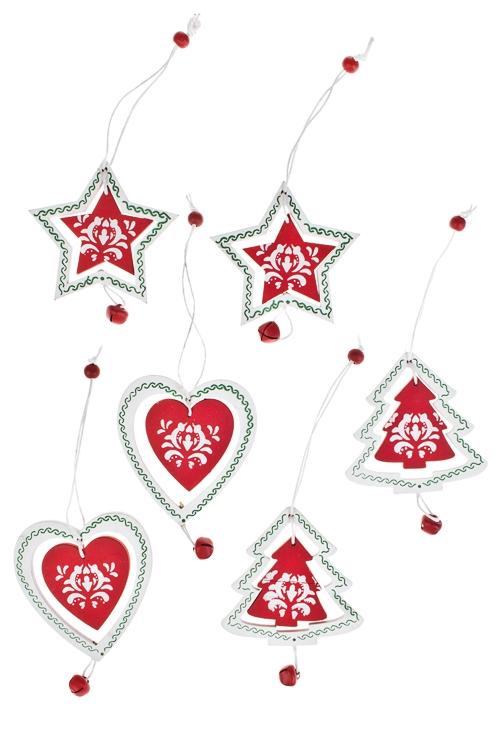 Набор украшений новогодних Новый годЕлочные игрушки<br>Д=7см, дерево, красно-белый, подвесной<br>