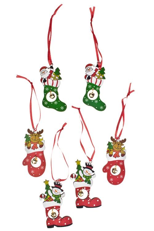 Набор украшений новогоднее Подарки на Новый ГодПодарки<br>Д=17см, дерево, красно-зеленый, подвесной<br>