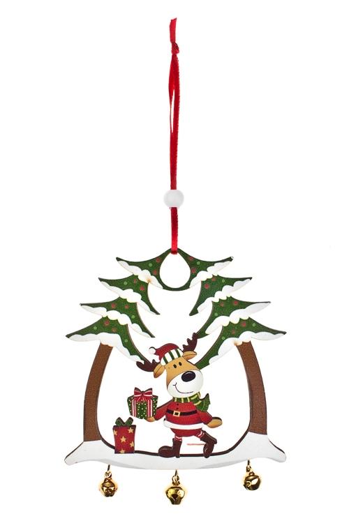Украшение новогоднее Веселый лосикСувениры и упаковка<br>Выс=23см, дерево, красно-зеленое, подвесное<br>