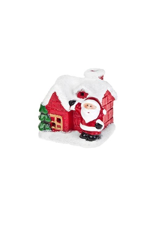 Украшение новогоднее светящееся Домик Деда МорозаСветящиеся украшения<br>8*6*7см, керам., красно-белое<br>
