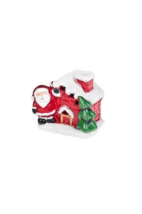 Украшение новогоднее светящееся Домик Дедушки МорозаРазвлечения и вечеринки<br>8.5*6*7см, керам., красно-белое<br>