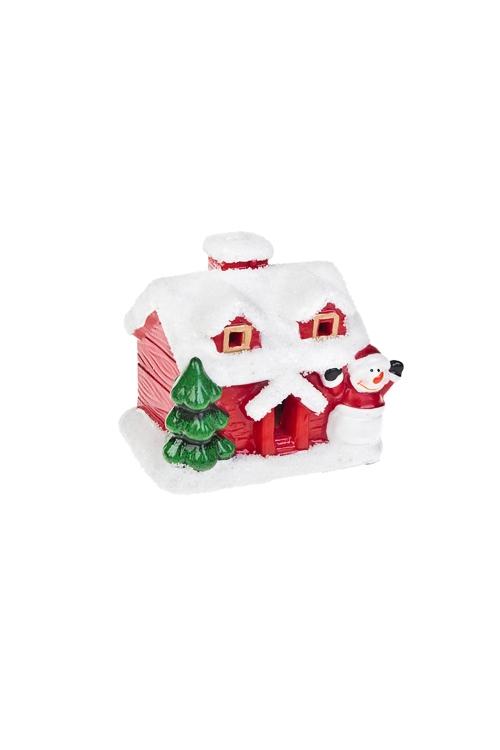 Украшение новогоднее светящееся Домик снеговикаРазвлечения и вечеринки<br>9*6*10см, керам., красно-белое<br>