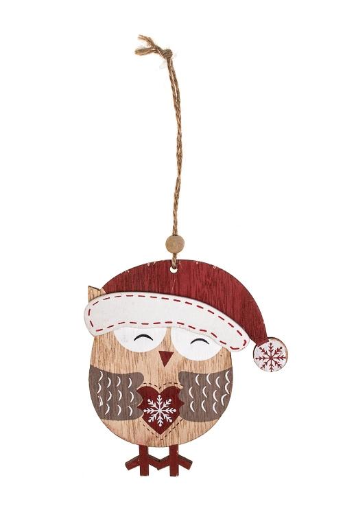 Украшение новогоднее Влюбленная совушкаДекоративные гирлянды и подвески<br>10*11см, дерево, крем.-красное, подвесное<br>