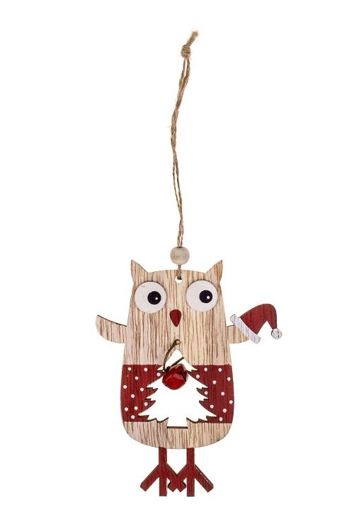Украшение новогоднее Совушка с елочкойСувениры и упаковка<br>Выс=13см, дерево, крем.-красное, подвесное<br>