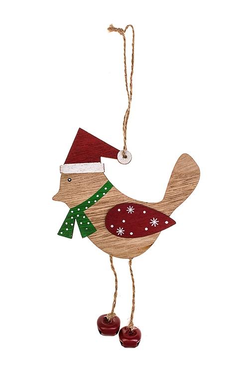 Украшение новогоднее Зимняя птичкаДекоративные гирлянды и подвески<br>12*19см, дерево, крем.-красное, подвесное<br>