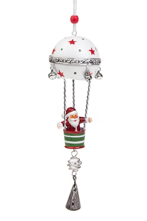 Украшение новогоднее Дед Мороз на воздушном шареСувениры и упаковка<br>Выс=22см, полирезин, металл, бело-зел.-красное, подвес<br>