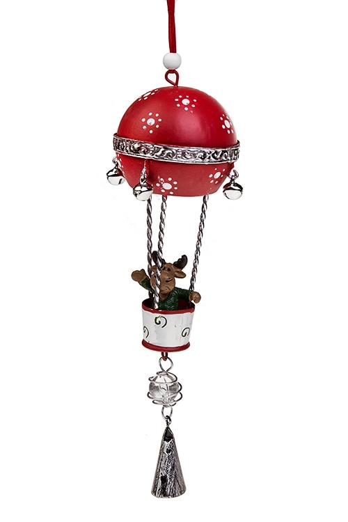 Украшение новогоднее Лосик на воздушном шареСувениры и упаковка<br>Выс=22см, полирезин, металл, красно-бело-зеленое, подвес.<br>