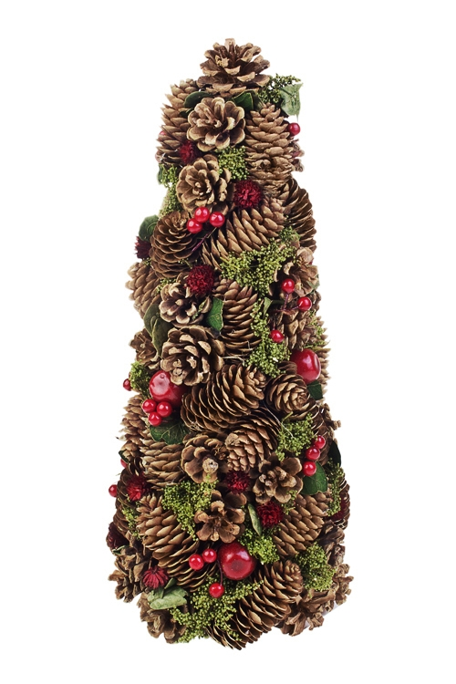 Украшение новогоднее Елочка из шишек с ягодкамиПодарки<br>Выс=37см, натур. матер., пенопласт<br>