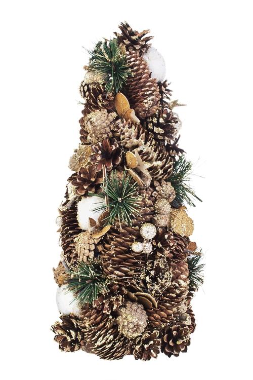 Украшение новогоднее Елочка из шишек со звездамиПодарки<br>Выс=37см, натур. матер., пенопласт<br>