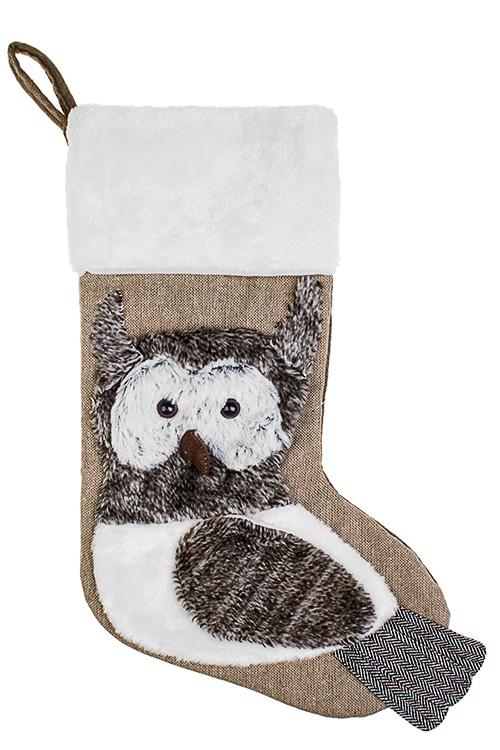 Рождественский носок СовушкаПодарки на Новый год 2018<br>Выс=48см, текстиль, беж.-серое, подвесное<br>