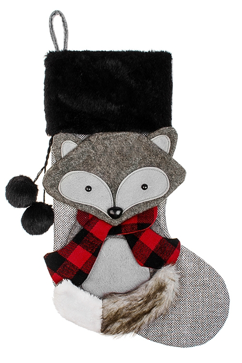 Рождественский носок ЛисичкаНовогодние носки<br>Выс=48см, текстиль, серо-бело-красное, подвесное<br>
