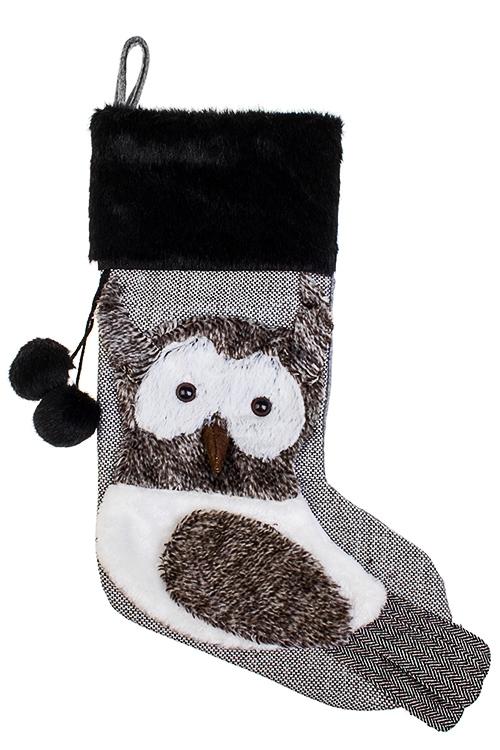 Рождественский носок СовушкаНовогодние носки<br>Выс=48см, текстиль, серо-белое, подвесное<br>